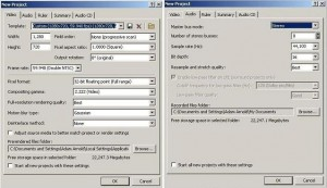 Sony Vegas - Project settings for AVerMedia Game Capture HD (click to enlarge)