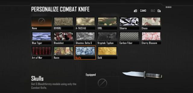 Black Ops 2: how to unlock all of the combat knife camos (including gold)