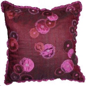 red designer cushion - puffin pattern by Karen Perry
